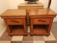 Pair of large solid wood bedside / end tables from Dunelm.