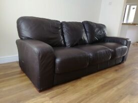 Brown large leather style 3 Seater Sofa