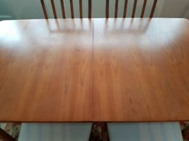 Teak Wooden Extending Dining table with 6 chairs