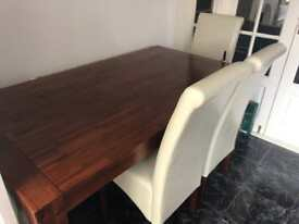 Solid Wooden Dining Table with 6 Heavy Leather Chairs