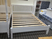 £129 - 4ft small double bed frame: solid pine in a whitewash finish, stylish Shaker, great condition