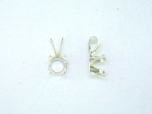 Round 4 Prong Snaptite Pendant Setting Sterling Silver