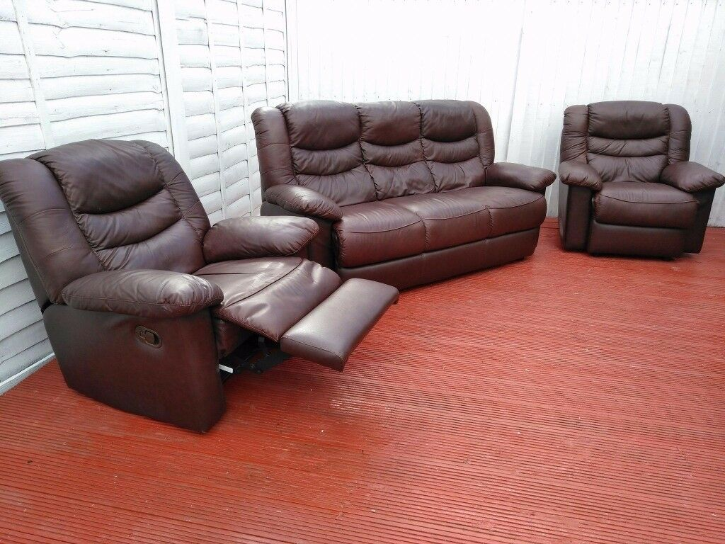 Dfs Leather 3 Piece Suite With Reclining Armchair Colour