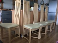 6 wooden dining chairs birch colour