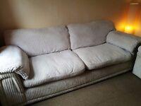 3 piece sofa with storage foot stool.
