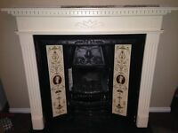 Fireplace, cast iron , tiled surround