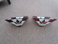 Ceiling Lights, A pair of Stained Glass Lampshades