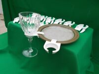 12 X WINE GLASS HOLDERS TO ATTACH TO PLATES.(see photographs)