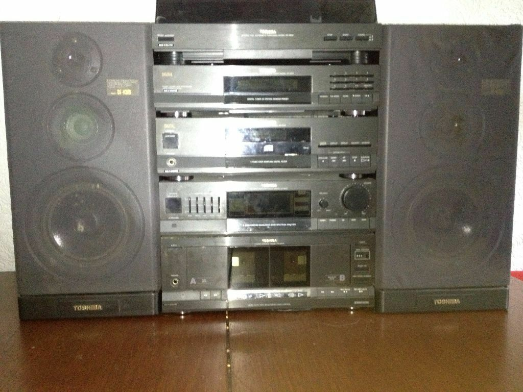 Toshiba Hi Fi Stereo Tower Cd Player Vinyl Record Player