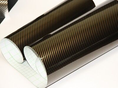 2D Carbonfolie Gold 152 cm x 200 cm  Blasenfrei mit Luftkanäle Car Wrapping
