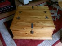 solid pine chest,coffee table,blanket box with 2 compartments