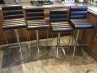 Set of four leather Kitchen/bar stools