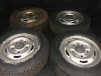 FORD TRANSIT MK6 & MK7 WHEELS WITH 195 70 15C TYRES, WHEEL NUTS AND NUT CAPS.
