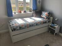 IKEA slakt bed with drawers and pull out bed