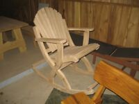 Garden table, benches, rocking chairs, armchairs,
