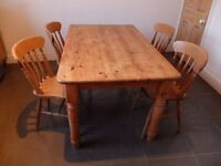 LARGE SOLID CHUNKY PINE FARMHOUSE TABLE & CHAIRS - SHABBY CHIC - NEAR LEEDS CITY CENTRE