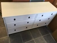 LARGE 6 DEEP DRAWER WASHED PINE CHEST OF DRAWERS VERY GOOD CONDITION , MEASURE 56 INCHES WIDE X 20