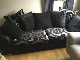 3 seater fabric sofa with matching cuddle chair