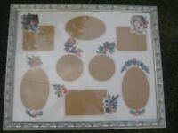 Large Glass Covered Silver Coloured Carved Wooden Picture Frame