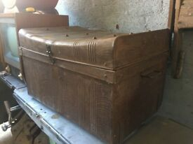 Antique Metal Steamer Trunk / Chest WIG R