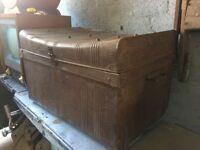 Antique Metal Steamer Trunk / Chest WIG R