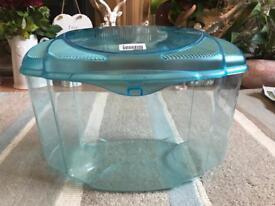 Small blue fish tank