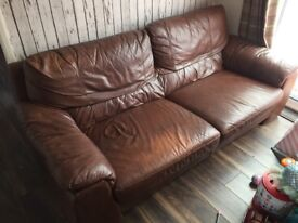 Brown 3 seater Leather Sofa and Armchair - Pick up only
