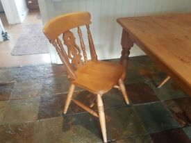 Pine kitchen table with 4 chairs and large dresser