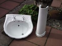 Wash basin / sink and pedestal - white, plus taps. Shell shape, for bathroom or bedroom