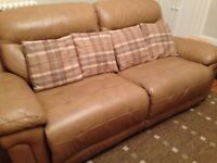 Immaculate Condition - Leather 2.5 seater sofa (both seats can recline)