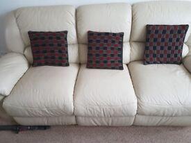 Leather 3 piece sofas.
