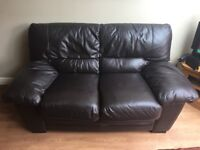 3 seater and 2 seater brown leather sofa with with 2 motorised recliners