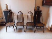 Set of 4 Ercol Dining room chairs Vintage Dark Elm Quaker Design Good Condition