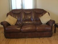 suite Brown Leather 3 Seater 2 Chairs