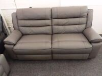Grey Leather 3 Seater Manual Recliner Sofa Ex Display SCS Neso **CAN DELIVER**