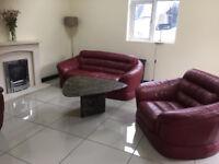Italian leather sofa and arm chair (violino)