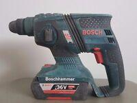 BOSCH GHB 36v BRUSHLESS li-ion SDS drill + 2ah battery.
