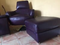Modern/retro style double Sofology sofa, chair & Poufett Open to offers