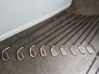 Set of Taylor Made golf clubs for sale with bag.