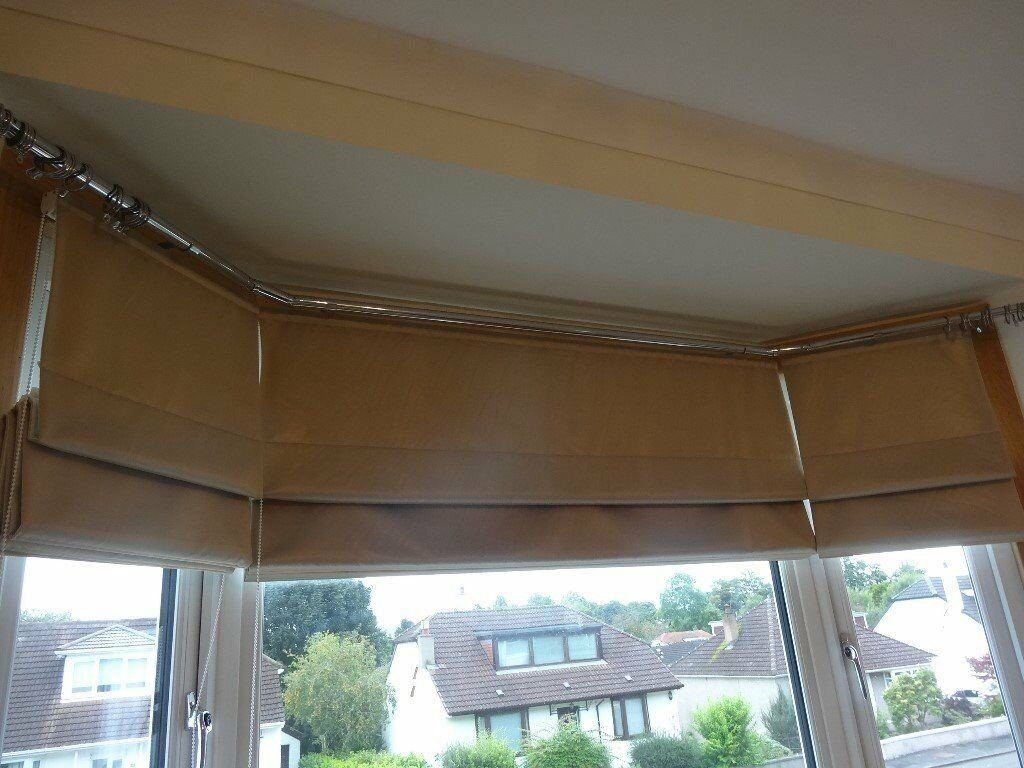 Stunning Set Of Three Lined Roman Blinds For A Bay Window