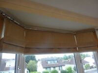 Stunning set of three lined roman blinds for a bay window. Champagne / beige / pale gold colour