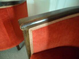 Pair Victorian tub chairs Velvet Art Deco Oak
