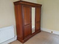 3 door vintage-style wardrobe with mirror