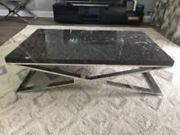Marble Effect Coffee Table & Side Table | Black | RRP 1649