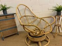 Scandi style vintage boho tiki swivel chair
