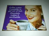 Metal sign, coffee, hot chocolate, vintage style