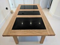 Light OAK Dining Table With Black GRANITE Inserts (NO CHAIRS INCLUDED)