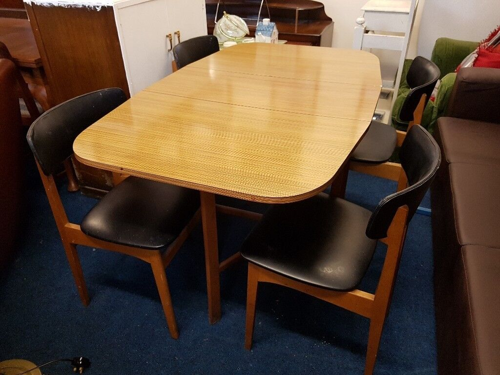 Teak Formica Gate Leg Dining Table With 4 Chairs Motherwell North Lanarkshire