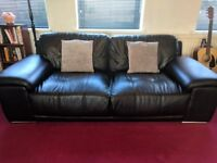 Modern Faux Leather 3 Seater Sofa - Good Condition