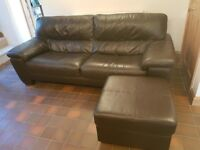 Dark brown leather 3 seater sofa and footstool